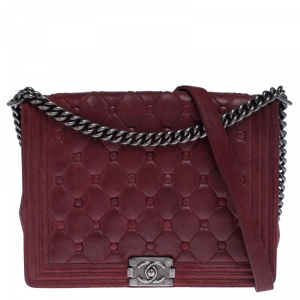 Chanel Red Quilted Button Nubuck Leather Large Boy Flap Bag