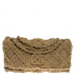 Chanel Beige Diamond Stitch Tweed Maxi Nature Flap Bag