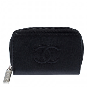Chanel Black Leather Small Timeless CC Zip Coin Purse