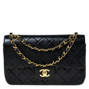 Chanel Black Leather Small Classic Single Flap Bag