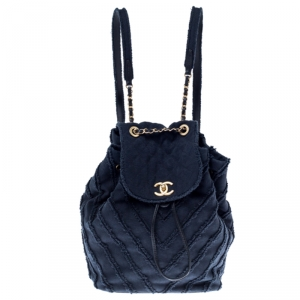 Chanel Navy Blue  Chevron Denim Medium Drawstring Patchwork Backpack