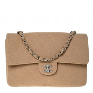 Chanel Beige Quilted Fabric Medium Classic Single Flap Bag