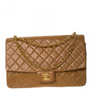 Chanel Beige Quilted Leather Vintage Classic Single Flap Bag