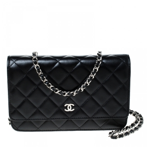 Chanel Black Quilted Leather WOC Chain Clutch Bag