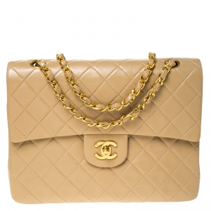 Chanel Beige Quilted Leather Medium Classic Single Flap Bag
