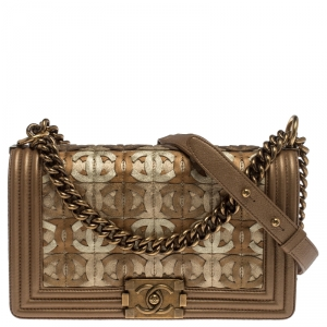 Chanel Gold Leather CC Cutout Medium Boy Flap Bag