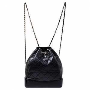 Chanel Black Lambskin Leather Small Gabrielle Backpack