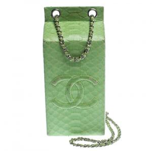 Chanel Light Green Python Lait de Coco Minaudiere Box