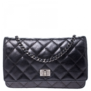 Chanel Black Quilted Crinkled Leather Reissue WOC Flap Bag