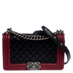 Chanel Black/Red Quilted Leather Medium Boy Flap Bag