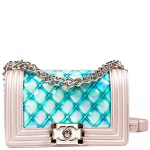 Chanel Silver Metallic Leather Boy Water Small Flap Bag