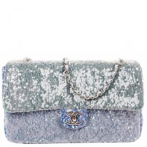 Chanel Blue Sequin Medium Waterfall Sequin Flap Bag