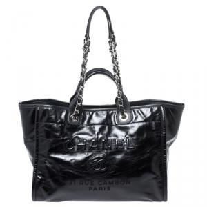 حقيبة شانيل دوفيل جلد أسود كبيرة