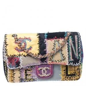 Chanel Multicolor Patchwork Jumbo Classic Single Flap Bag
