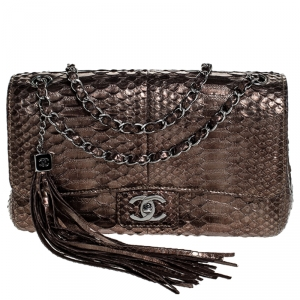 Chanel Metallic Python Tassel Flap Bag