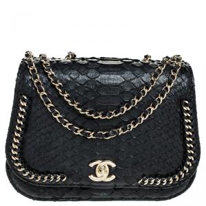Chanel Black Python Small Braided Chic Flap Bag