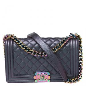 Chanel Metallic Leather Iridescent Medium Boy Flap Bag
