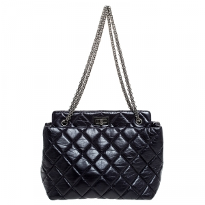 Chanel Purple Quilted Crackled Leather Mademoiselle Lock Chain Tote