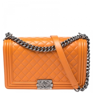 Chanel Orange Quilted Leather New Medium Boy Flap Bag