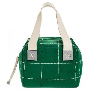 Chanel Green Chocolate Bar Stitch Canvas Boston Bag