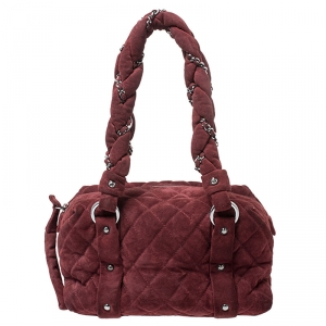 Chanel Burgundy Nubuck Lady Braid Satchel