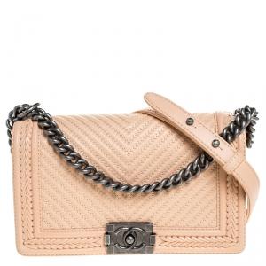 Chanel Beige Chevron Leather Old Medium Braided Boy Flap Bag