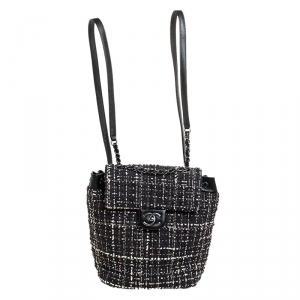 Chanel Black/White Tweed Urban Spirit Backpack