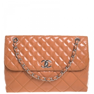 Chanel Orange Quilted Patent Leather In The  Business Flap Bag