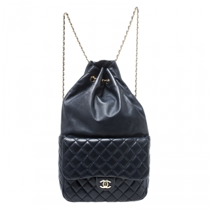 Chanel Navy Blue Quilted Leather Large Seoul Backpack