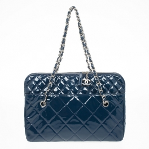 Chanel Vintage Large Blue Quilted Tote Bag