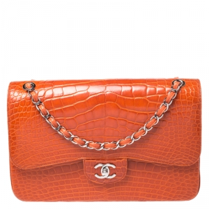Chanel Orange Alligator Jumbo Classic Double Flap Bag