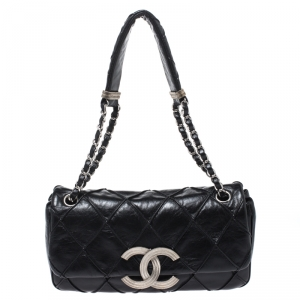 Chanel Black Leather Diamond Stitch CC Flap Shoulder Bag
