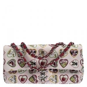 حقيبة شانيل قلاب كلاسيك صغيرة Valentine  فينتدج كانفاس طباعة قلب متعددة الألوان