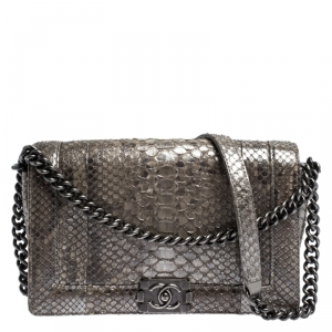 Chanel Metallic Grey Python New Medium Boy Flap Bag