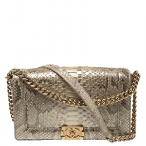 Chanel Gold Shimmering Python New Medium Boy Flap Bag