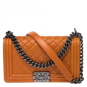 Chanel Orange Quilted Leather Medium Boy Flap Bag