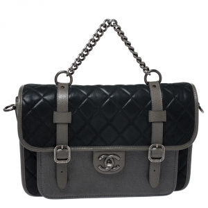 Chanel Metallic Grey/Black Iridescent Leather Paris Bombay Back To School Messenger Bag