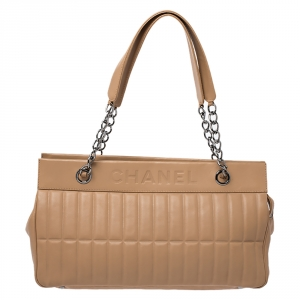 Chanel Beige Vertical Quilted Leather LAX Bag