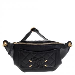 Chanel Black Caviar Leather Bi Classic Belt Bag