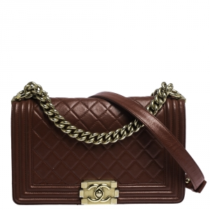 Chanel Red Quilted Leather Medium Boy Flap Bag