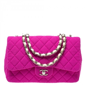 Chanel Pink/White Quilted Perforated Jersey Jumbo Classic Single Flap Bag