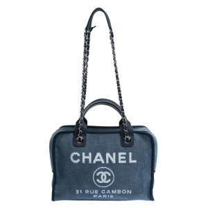 Chanel Blue Denim and Leather Deauville Bowler Bag