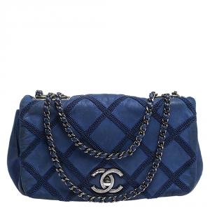 Chanel Electric Blue Diamond Stitch Leather Mini Flap Bag