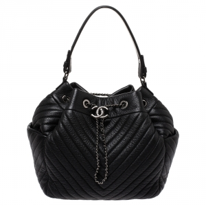 Chanel Black Chevron Leather Gabrielle Bucket Bag
