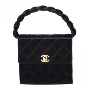 Chanel Black Satin Vintage Classic Flap Braided Handle Bag