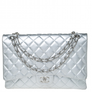 Chanel SIlver Quilted Leather Maxi Classic Single Flap Bag