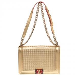 Chanel Metallic Gold Cube Embossed Leather New Medium Boy Flap Bag