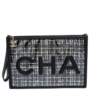 Chanel Black PVC and Tweed Logo Zip Pouch