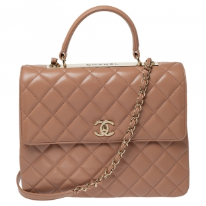 Chanel Nude Beige Quilted Leather Large Trendy CC Top Handle Bag