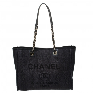 Chanel Black Straw and Leather Small Deauville Shopper Tote